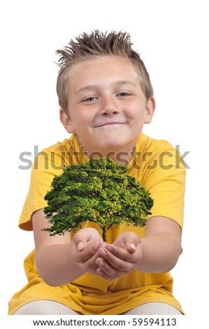 boy sit with tree in hold palm, isolated on white - stock photo