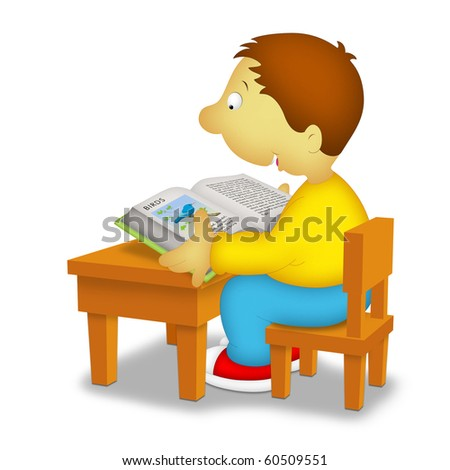 Boy sitting in front of desk reading a book about birds. - stock photo