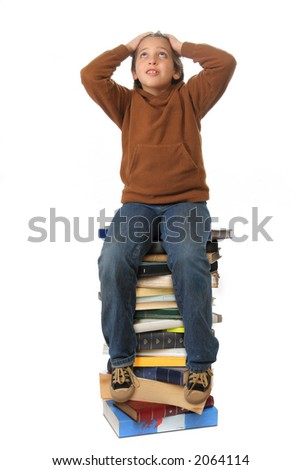 Boy sitting on a big pile of books. Different expressions (series)