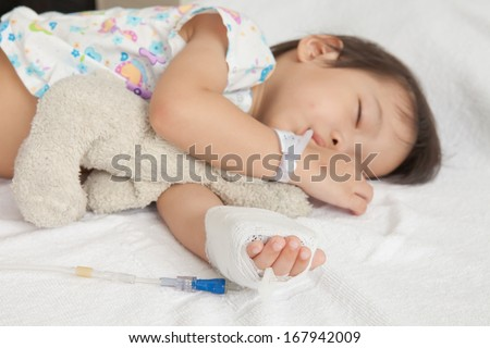 Boy sleeping in hospital patients