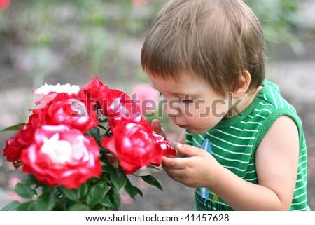 Boy smelling flowers - stock photo