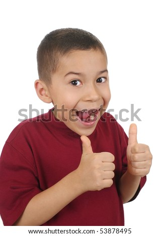 Boy smiling big and giving thumbs up sign, isolated on white - stock photo