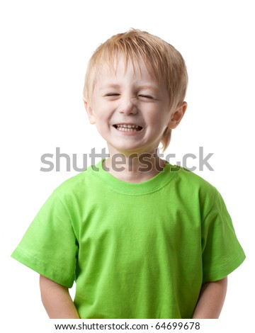 Boy smiling eyes closed, on a light background