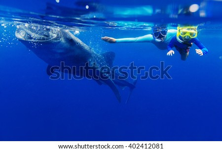 Boy snorkeling with whale shark - stock photo