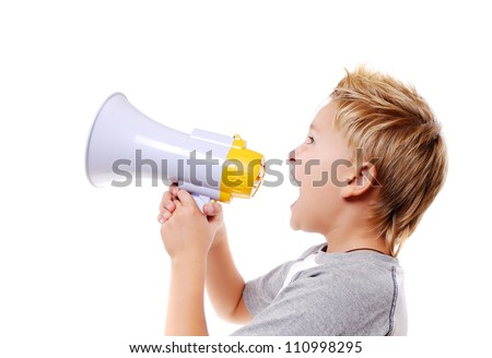Boy  speaking through a megaphone against a white background - stock photo