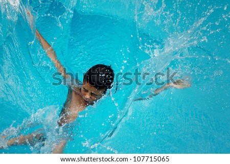 boy splashing in blue water