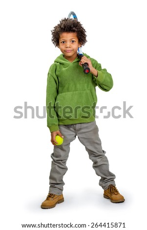 Boy sportsman with a tennis racket and ball. - stock photo