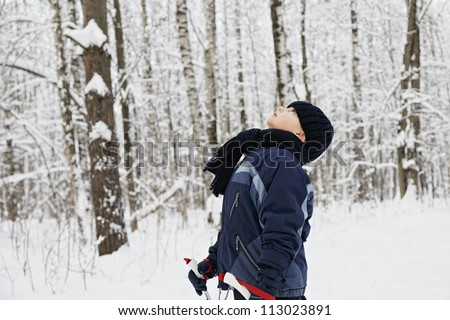 Boy standing in winter forest with ski poles and looking up - stock photo