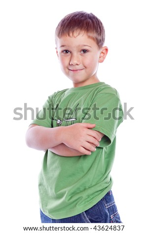 boy standing on floor isolated on white - stock photo