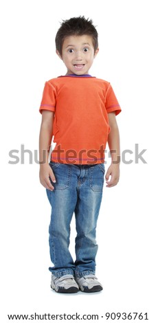 boy standing on the floor isolated on white - stock photo