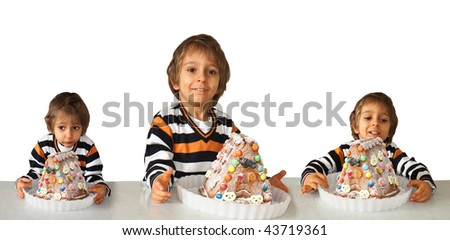 Boy staring  at cake at home. Isolated on a white background. - stock photo