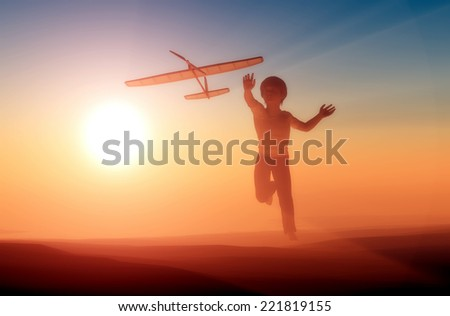 Boy starts plane and the sky. - stock photo