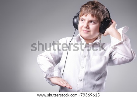 boy student with headphones - stock photo
