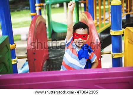 Boy Superhero Dressup Aspiration Playground Concept