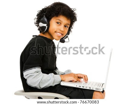 Boy surfing the net isolated over white - stock photo