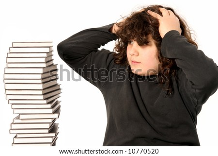 boy surprised and many books on white background - stock photo