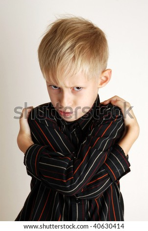 Boy taking great offence - stock photo