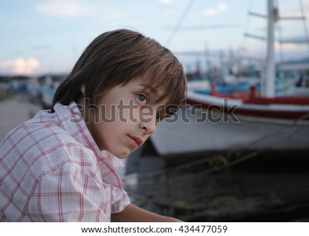 Boy teen on marina / Bulgaria