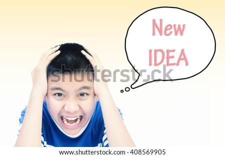 Boy think hard and new idea speech  with vintage tone. Can use for your business concept background. - stock photo