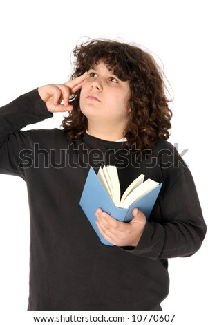 boy thinking and reading a book on white background - stock photo