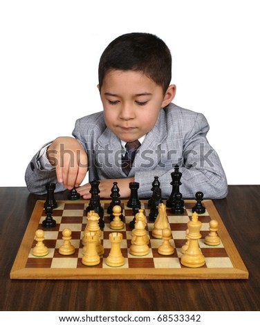 Boy thinking of a chess move, eight years old, on pure white background