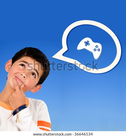 Boy thinking on video games isolated over blue - stock photo