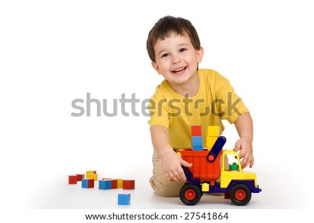 boy, truck and blocks - stock photo