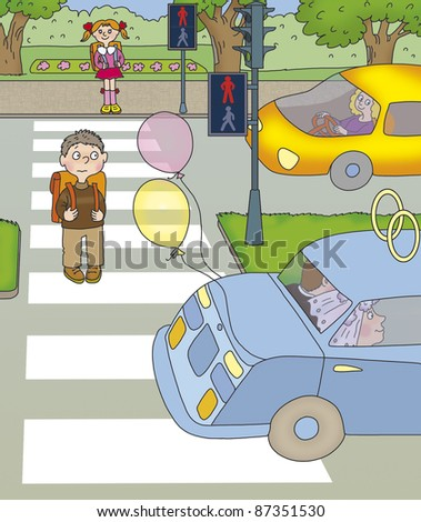 boy turned half of the road and stopped at red lights - stock photo