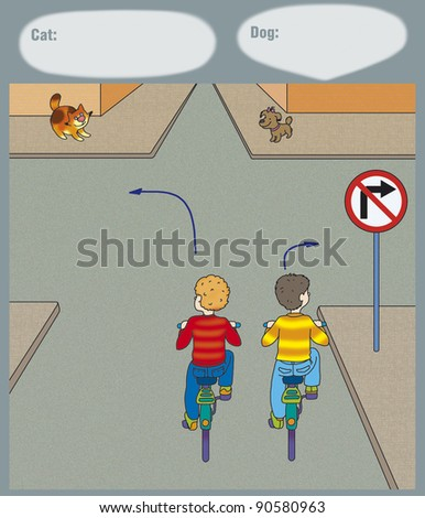 boy turns to the right, correct? - stock photo