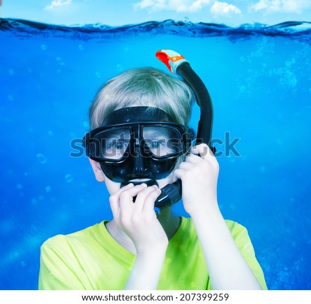 Boy under the water, concept - stock photo