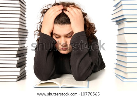 boy unhappy and many books on white background - stock photo