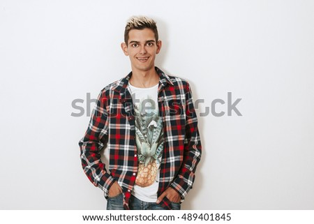 boy urban style on white background