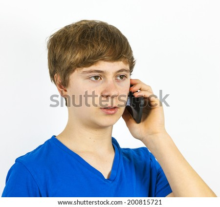 boy using a modern mobile phone