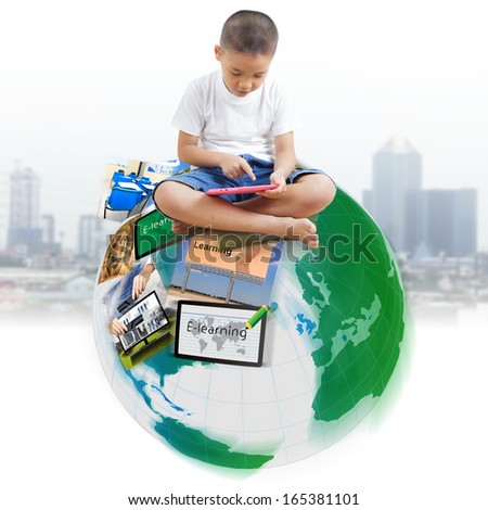 Boy using digital tablet, The concept of E-learning - stock photo