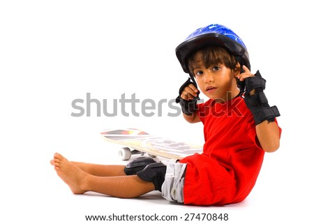 Boy using helmet and protect in the limbs.