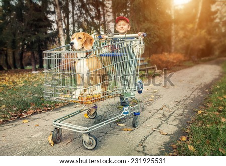 Boy walk with dog in shopping trail - stock photo
