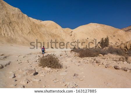 boy walking in the desert summer day - stock photo