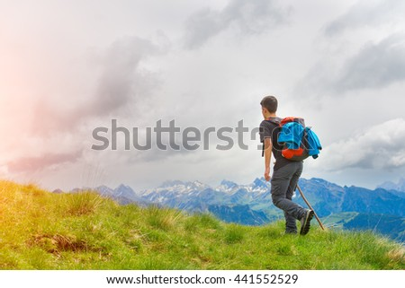 Boy walking in the mountains with his stick in the meadows in the summer