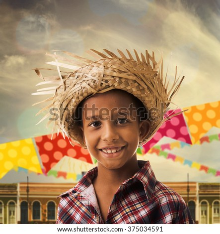 "Boy wearing ""Caipira"" clothes for the Junina Brazilian Party - stock photo"