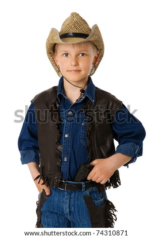 boy wearing clothes of cowboy isolated on white - stock photo