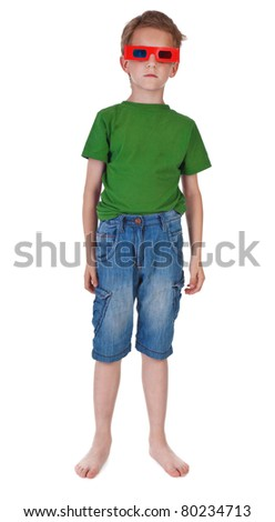 boy wearing 3D glasses on white background - stock photo
