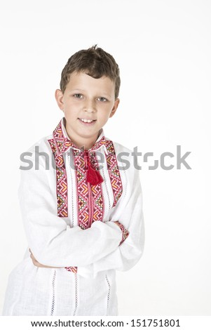 Boy wearing ethnic Ukrainian clothing