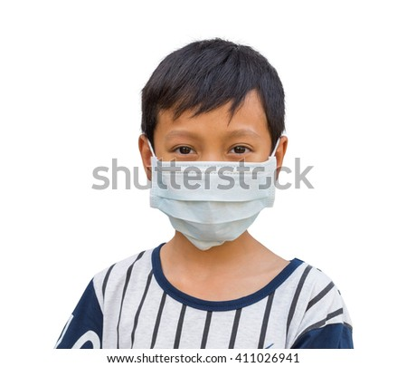 Boy wearing protective mask with clipping path - stock photo