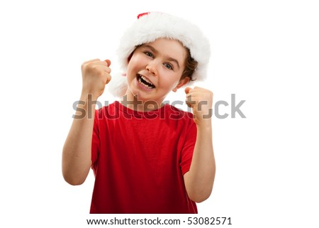 Boy wearing Santa Claus hat isolated on white background