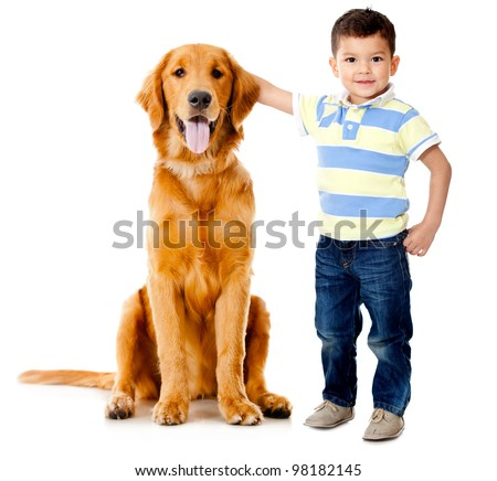 Boy wih a beautiful dog���- isolated over a white background - stock photo