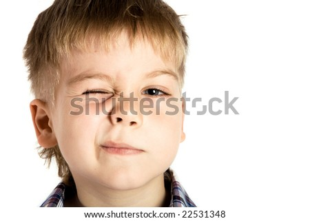 Boy winking - stock photo