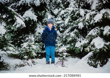 boy winter snow tree