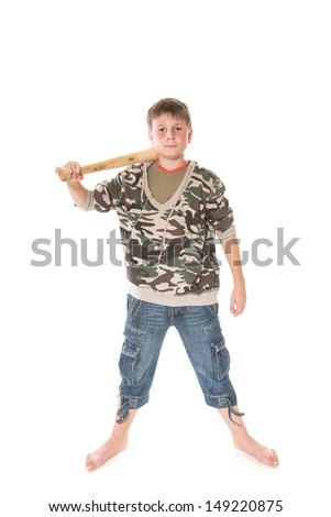 boy with a bat on a white background - stock photo