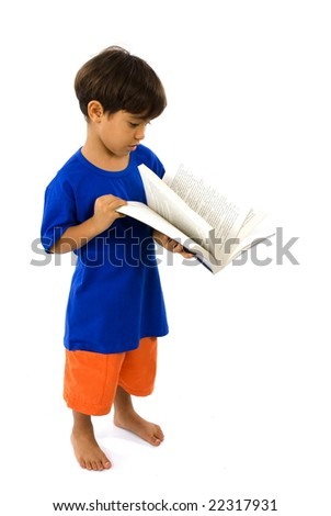 Boy with a Book on white background .