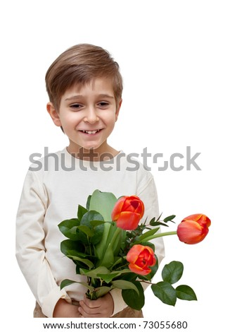 boy with a bouquet of flowers isolated on white background. - stock photo